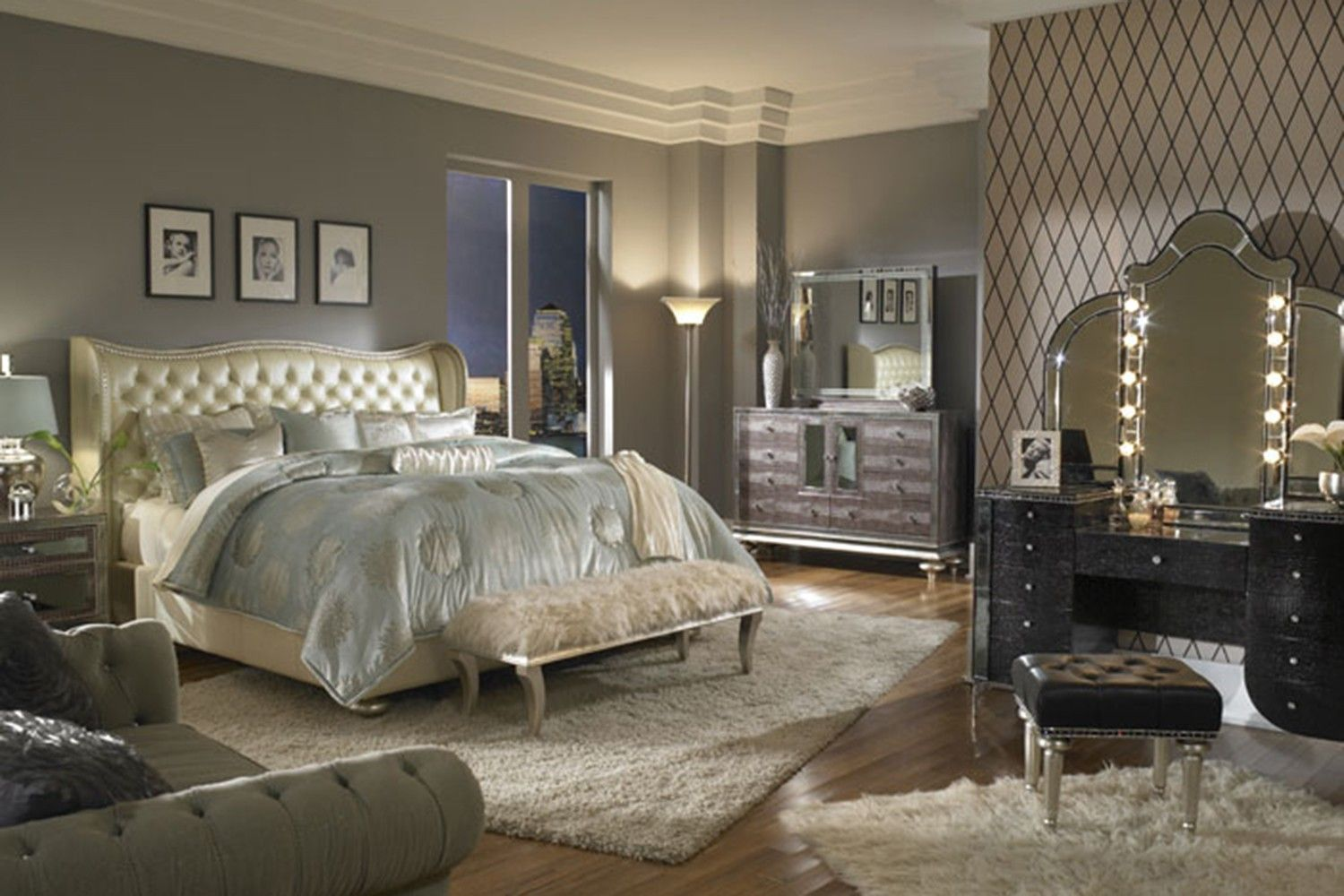 Hollywood swank bedroom in pearl bedroom sets shop for Luxury furniture for less