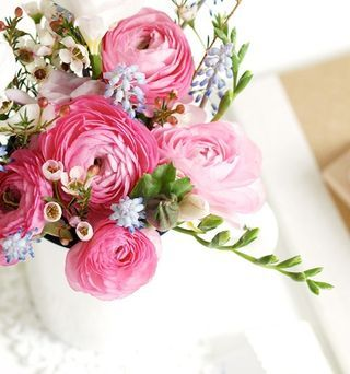 Gift Wrap Pink Ranunculus used as decorating