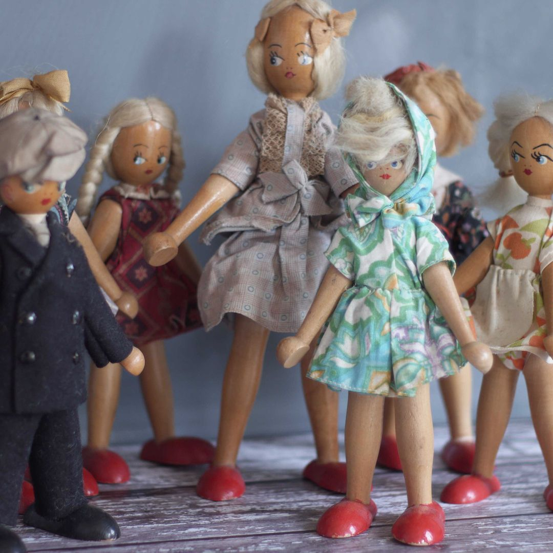Vintage collectible polish dolls collection toys wooden