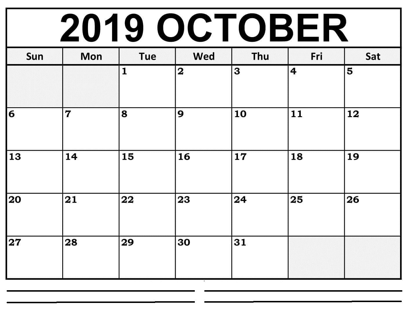 Excel October 2019 Monthly Calendar Calendar Holiday