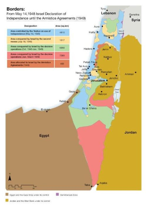 A map of Israel\'s changing borders in 1948-1949. | Maps: Middle East ...