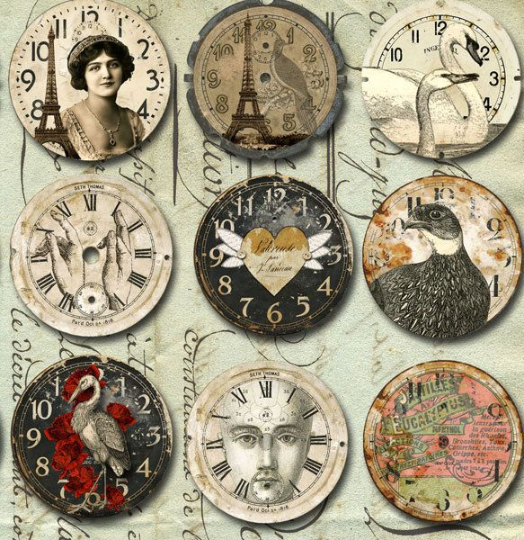 30 VINTAGE Art Watch CLOCK Faces with Animals  More- INSTANT - time clock spreadsheet