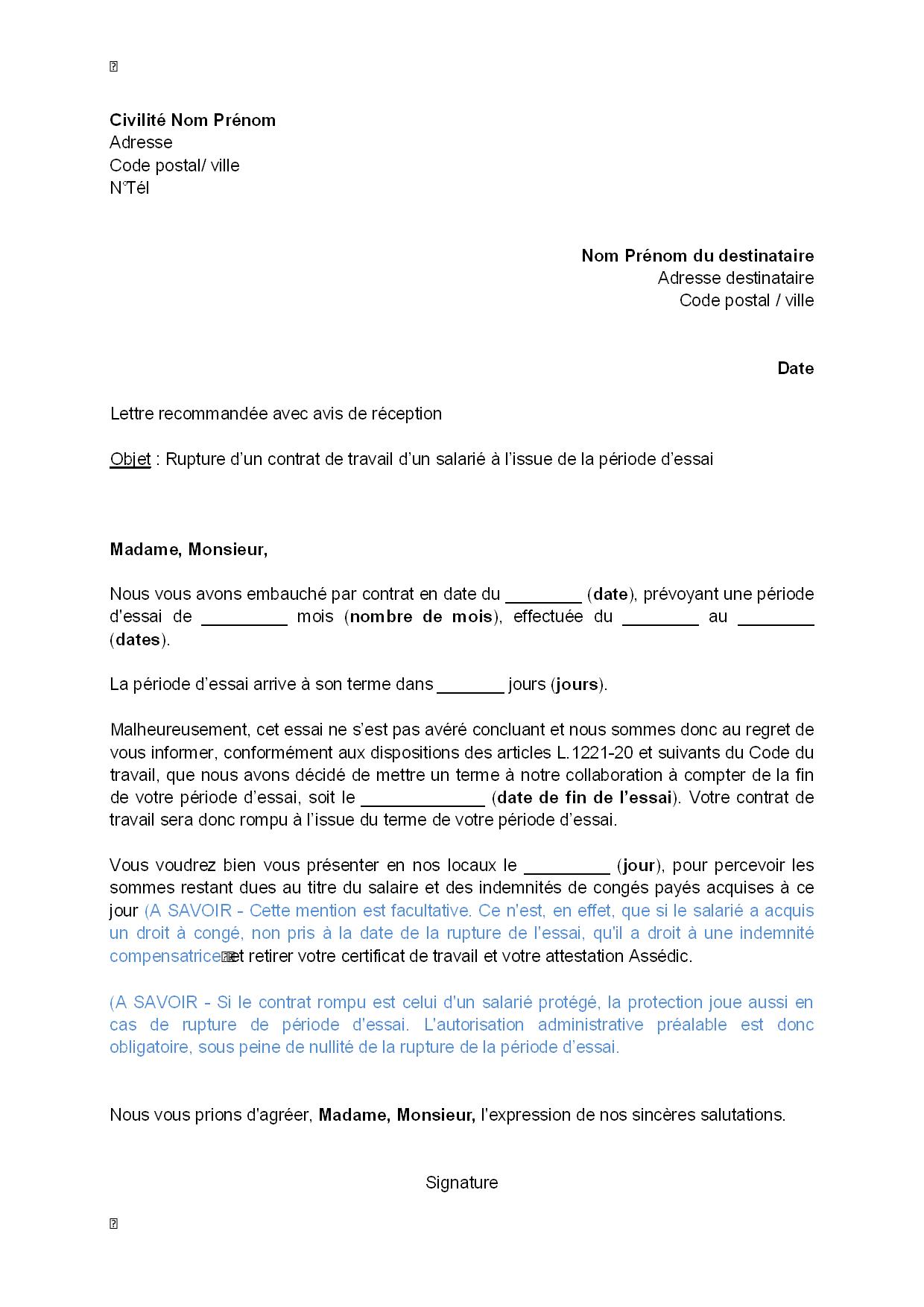 Resultat De Recherche D Images Pour Lettre De Resiliation De Contrat De Travail