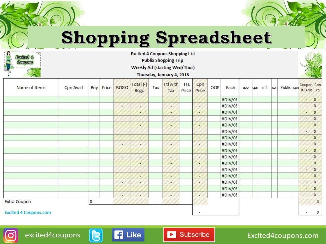 Shopping Spreadsheet Great List To Go Shopping When Using Coupons Shopping Coupons Coupon Organization Spreadsheet