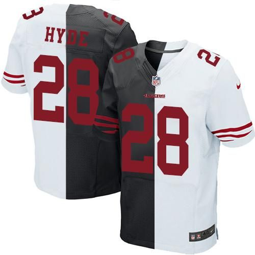 Nike 49ers  28  Carlos  Hyde Black White Men s Stitched  NFL Elite Split  Jersey  nfl  nfljersey  football  sport  sports  lovesports d3cce9c1d