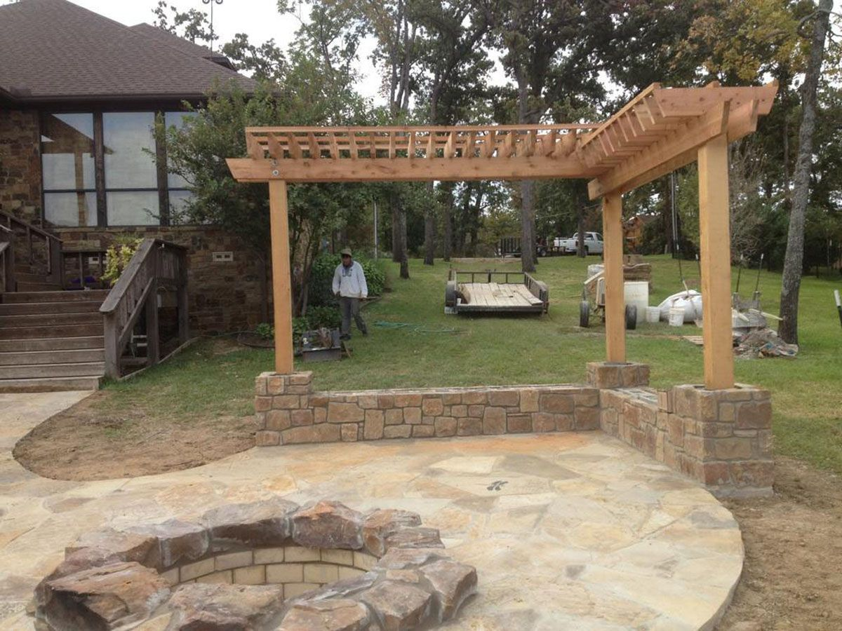 L shaped pergola back porches or decks pinterest for Outside patio design ideas