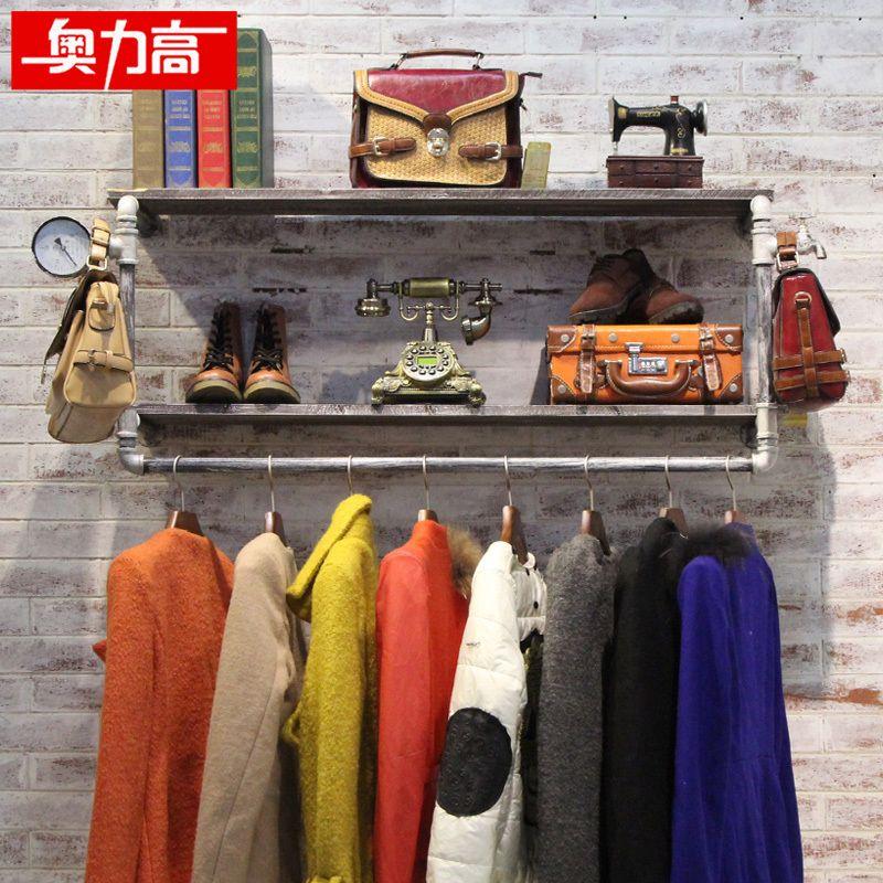 Austríaco alto prateleira de parede para pendurar prateleiras loja vintage  ferro forjado cabides de madeira(China (Mainland)) fe10f7ac6c