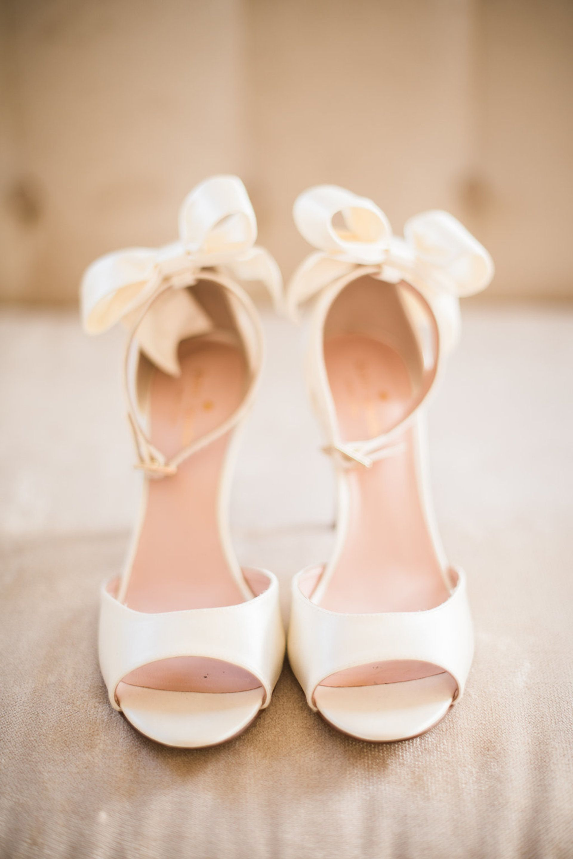 Cream Colored Wedding Shoes Open Toe Heels Bows Shannon Rosan Photography