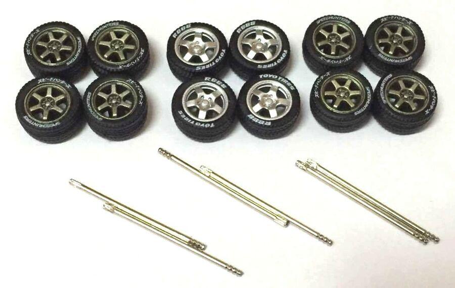 1 64 Rubber Tires Te37 5 Spoke Fit Kyosho Hot Wheels Greenlight Custom 3 Sets Spoke Fit Rubber Rubber Tires Custom Hot Wheels Hot Wheels