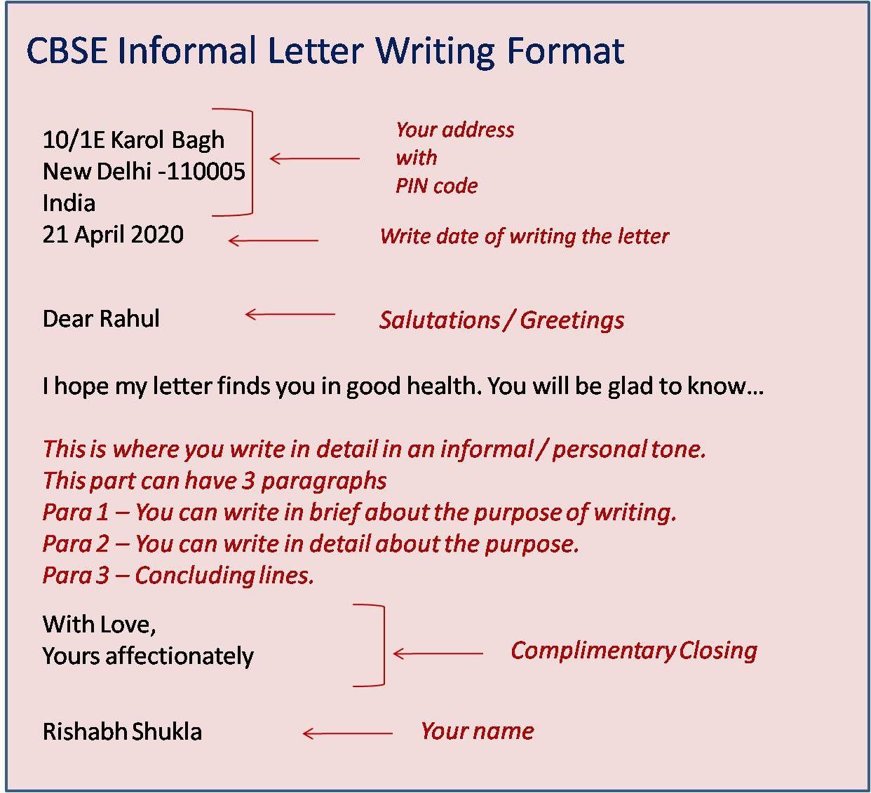 CBSE Informal Letter Format in 2020 Informal letter