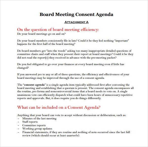 Agenda Word Simple Board Meeting Agenda Templates  10 Printable Word Excel & Pdf .