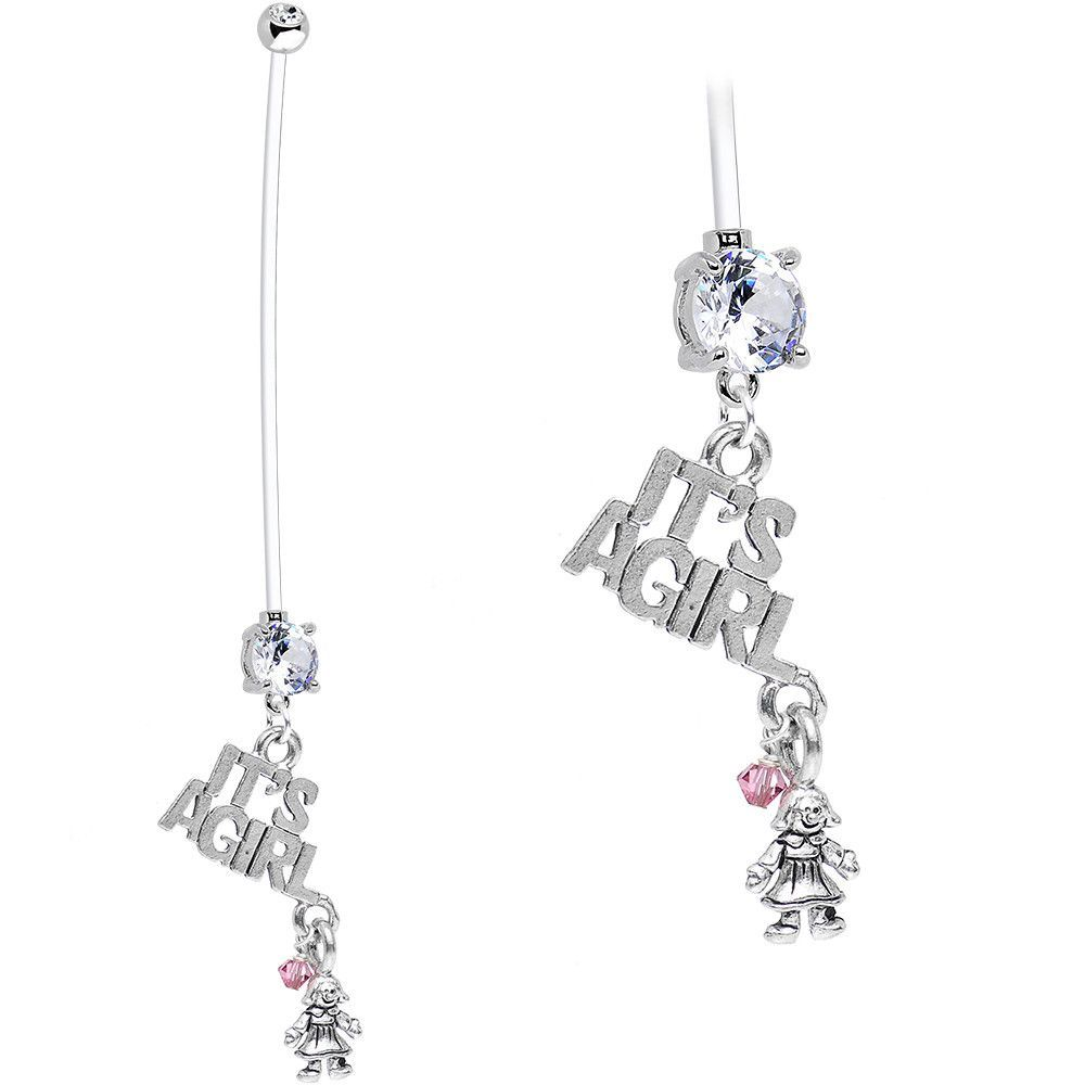 Clear Cubic Zirconia It's a Girl and Dolly Pregnancy Belly Ring