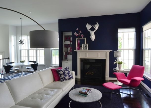 Color Of The Day Lilac Pink  Navy Blue Walls Pink Chairs And Magnificent Pink Living Room Furniture Decorating Inspiration