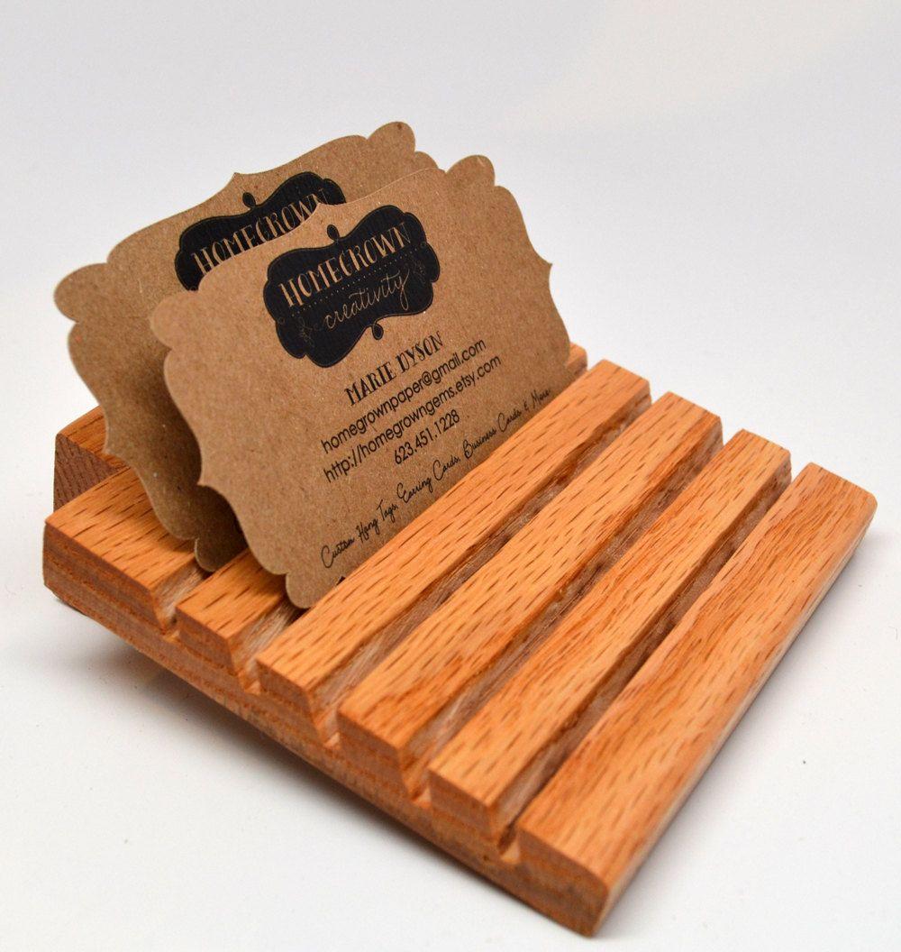 Wood business cards holder display card holder 800 via for Woodwork business cards