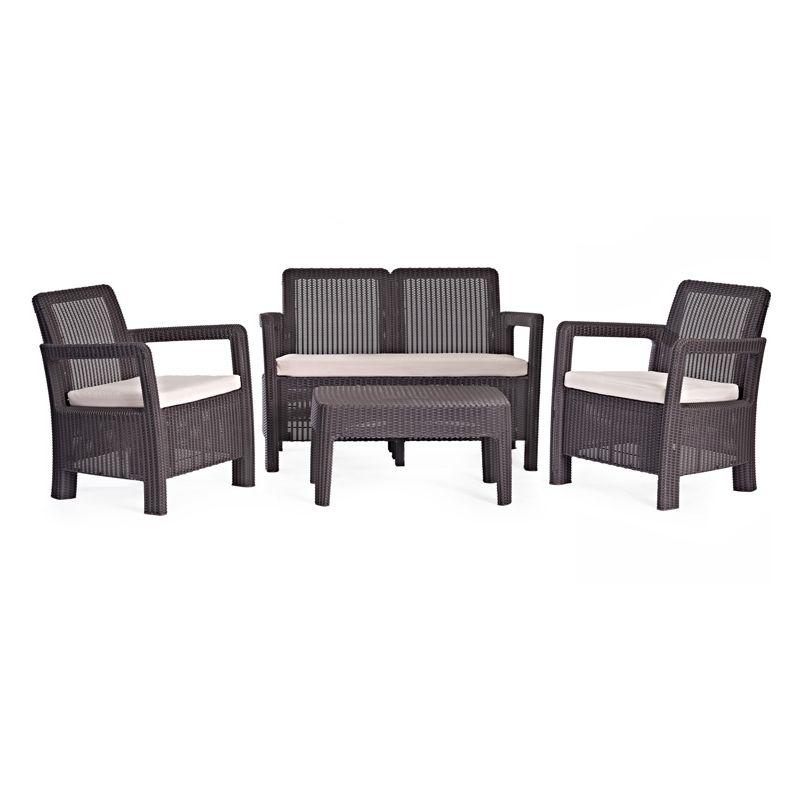 Conjunto Ratan Resina Tarifa Lounge Set Marron Curver Muebles De Jardin Muebles Muebles De Exterior