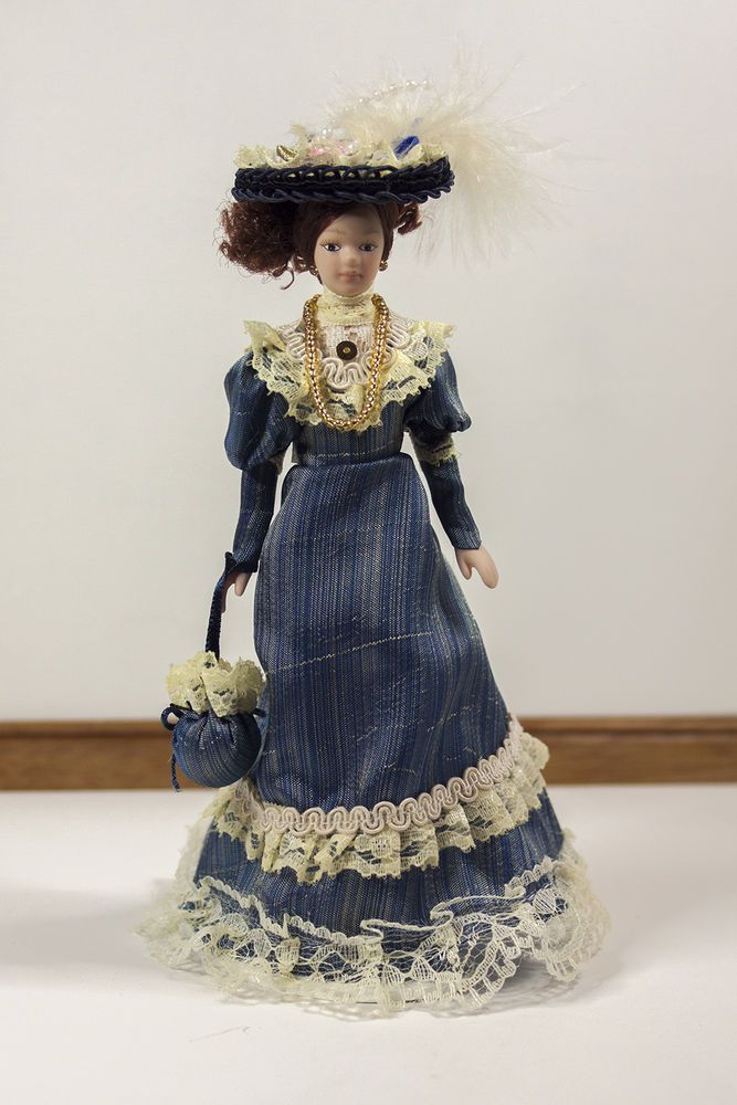 Porcelain Doll - Victorian Lady in Blue dress.