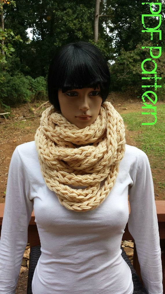 Instant Download Crocheting PATTERN - Infinity Scarf Crocheting ...