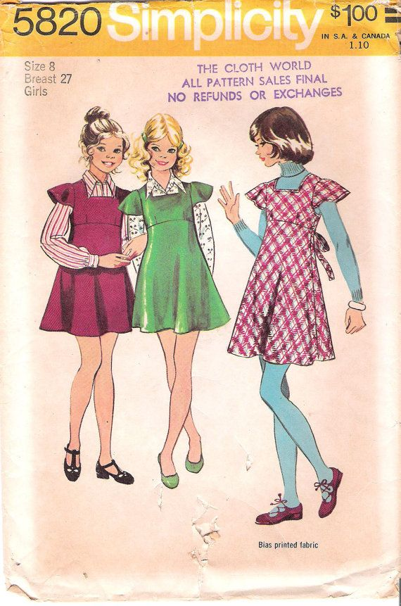 1970s Girls Jumper Simplicity 5820 Sewing Pattern Uncut Square Vintage Childrens Clothing Kids Boutique Clothing Wholesale Kids Clothing