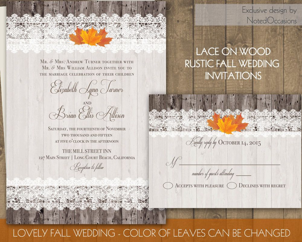 Rustic Fall Wedding Invitations Lace Border on