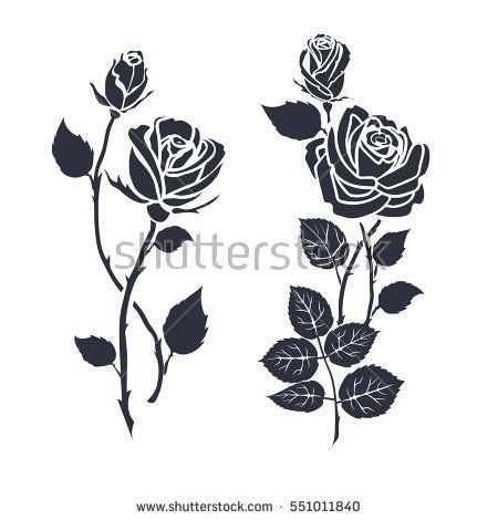 Silhouette Roses And Leaves Black Rose Tattoos Lilies Drawing Single Rose Tattoos