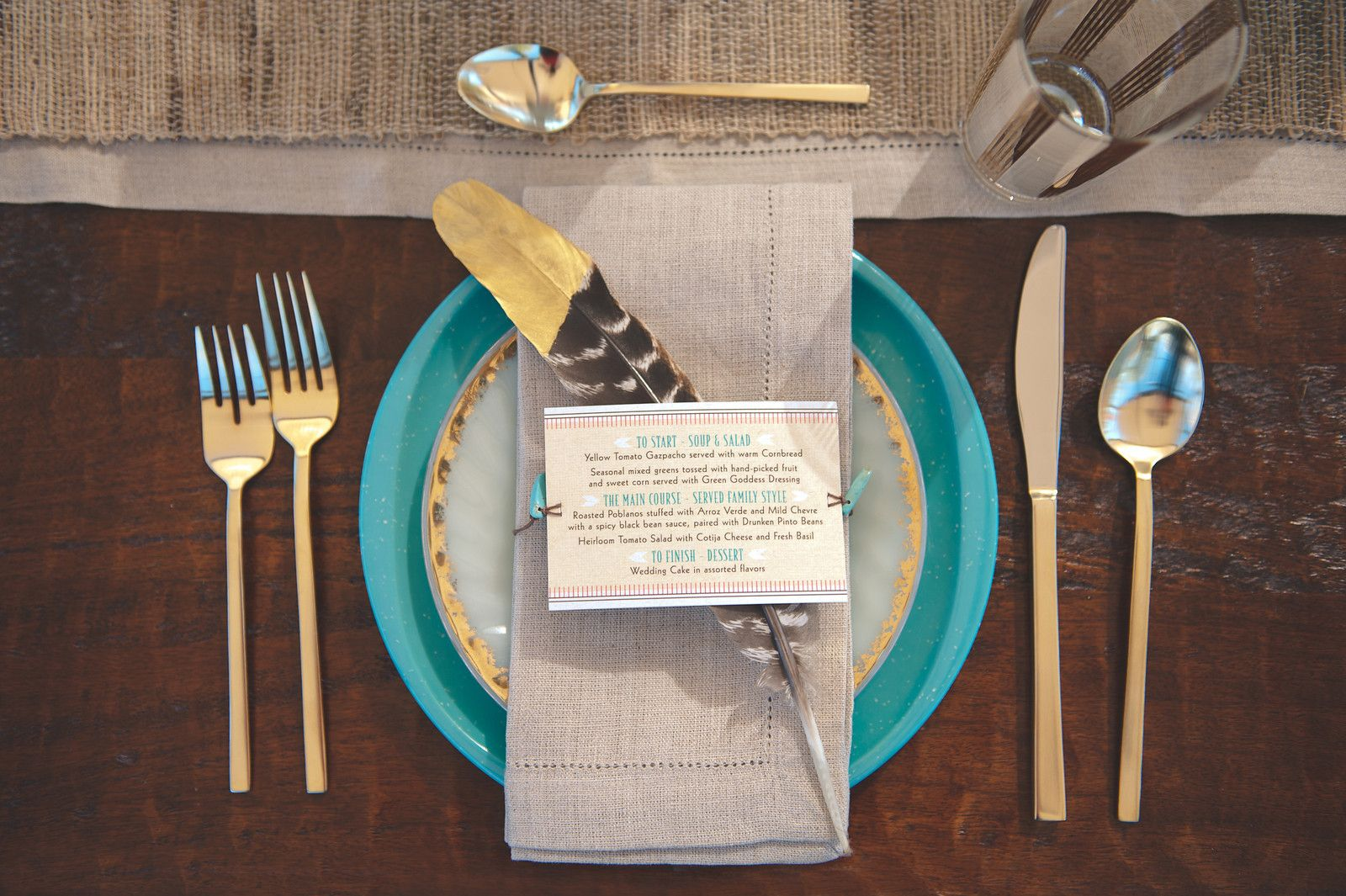 I like the dipped feather and hemstitch napkin the skinny flatware