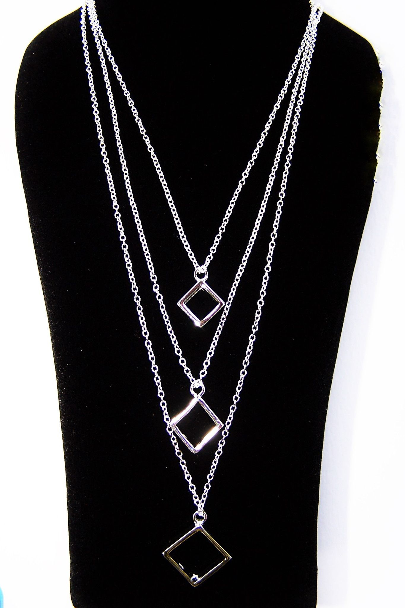 Sterling Silver Three-Row Square Pendant Necklace