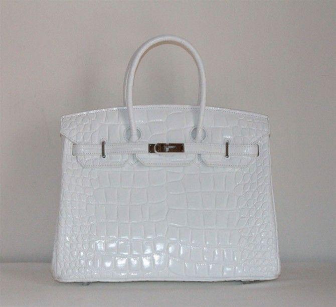 0b6ac2b1c26d ... france hermes birkin 40cm crocodile veins white handbag silver hardware  44fef f6270