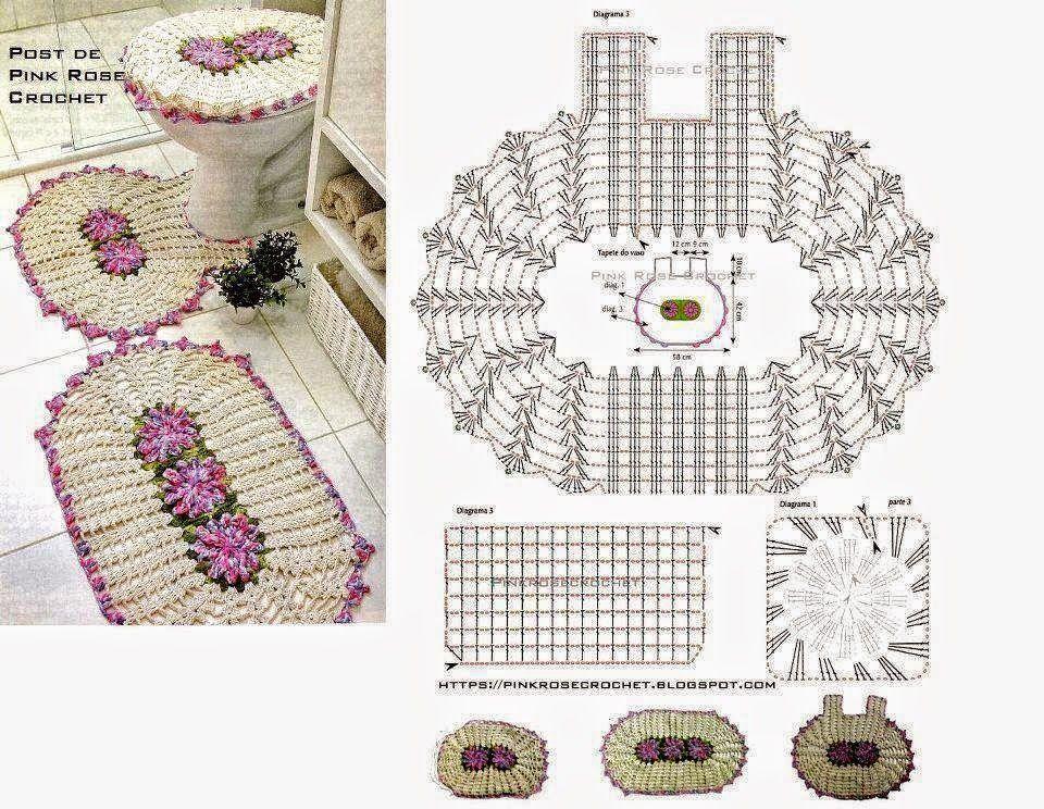 Patrones para tejer alfombras y tapa de inodoro al crochet, con ...