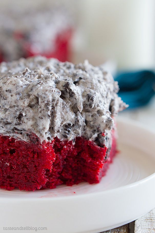 Red Velvet Sheet Cake Recipe with Cookies and Cream Frosting - Simple and perfect - this red velvet sheet cake recipe makes a cake that is dense and moist and is topped with a decadent cookies and cream frosting. This cake proves that simple can be amazing!