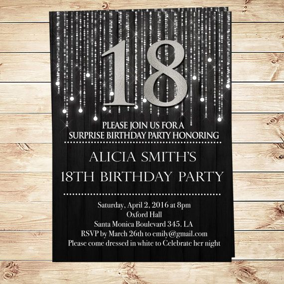 Black And Silver 18th Birthday Invitations By DIYPartyInvitation