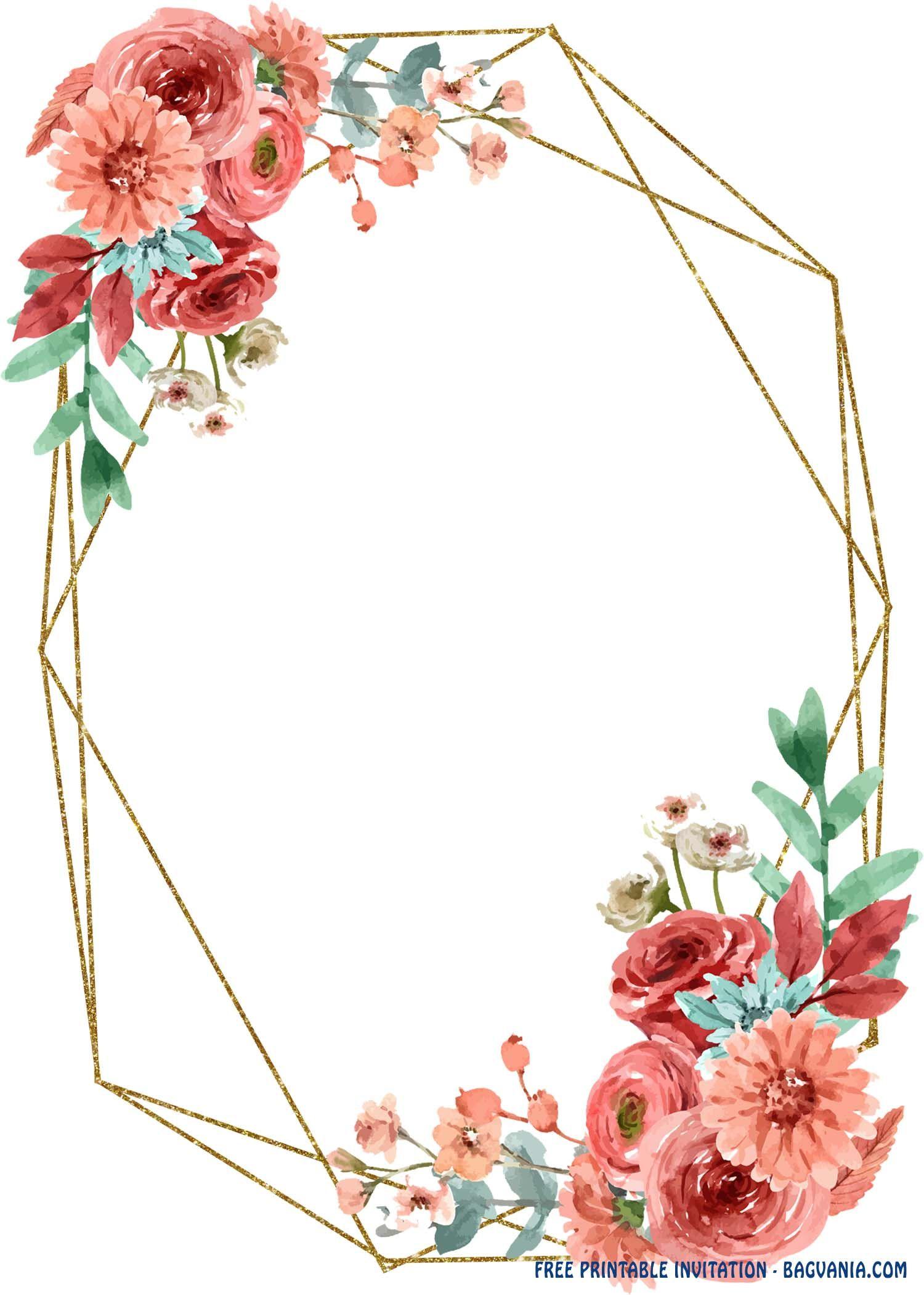 Free Printable Geometric Floral Invitation Templates Floral Invitations Template Templates Printable Free Floral Invitation