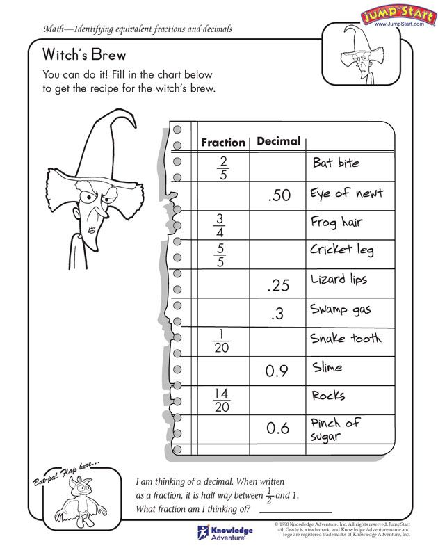 Witch S Brew 4th Grade Free Math Worksheet On Fractions And Decimals Jumpstart Math Fact Worksheets Fractions Math