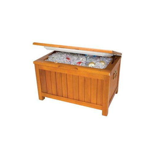 THIS WOULD BE KINDA COOL ON THE PATIO Igloo 50 Qt Eucalyptus Wood Outdoor  Patio Cooler And Bench   Coolers And Servers   Outdoor Ice Chests, Bar, ...