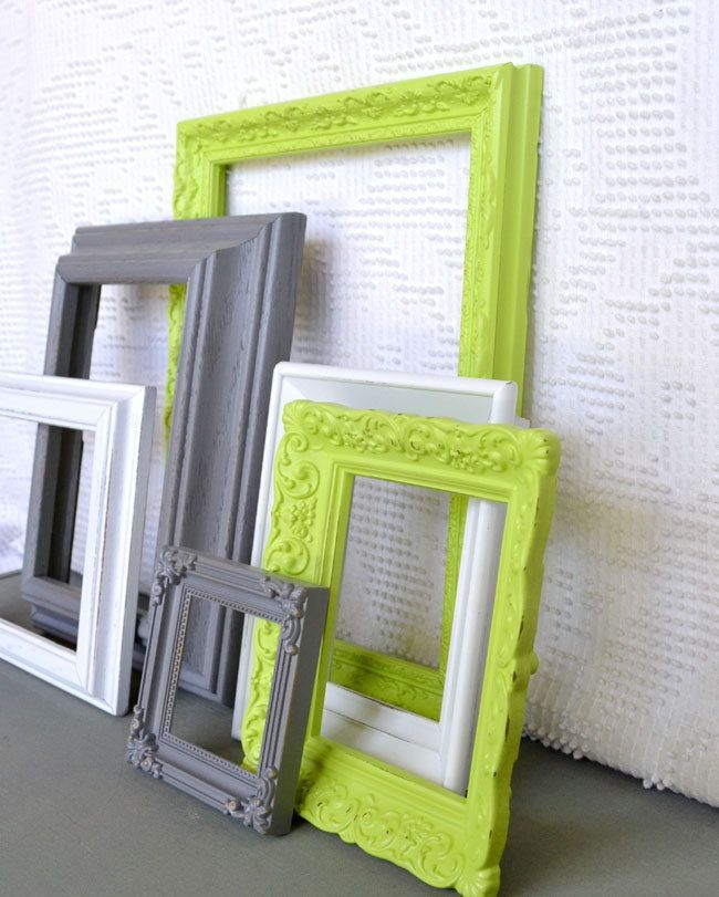 Lime green grey white ornate frames set of 6 upcycled - Green and grey bedroom ...