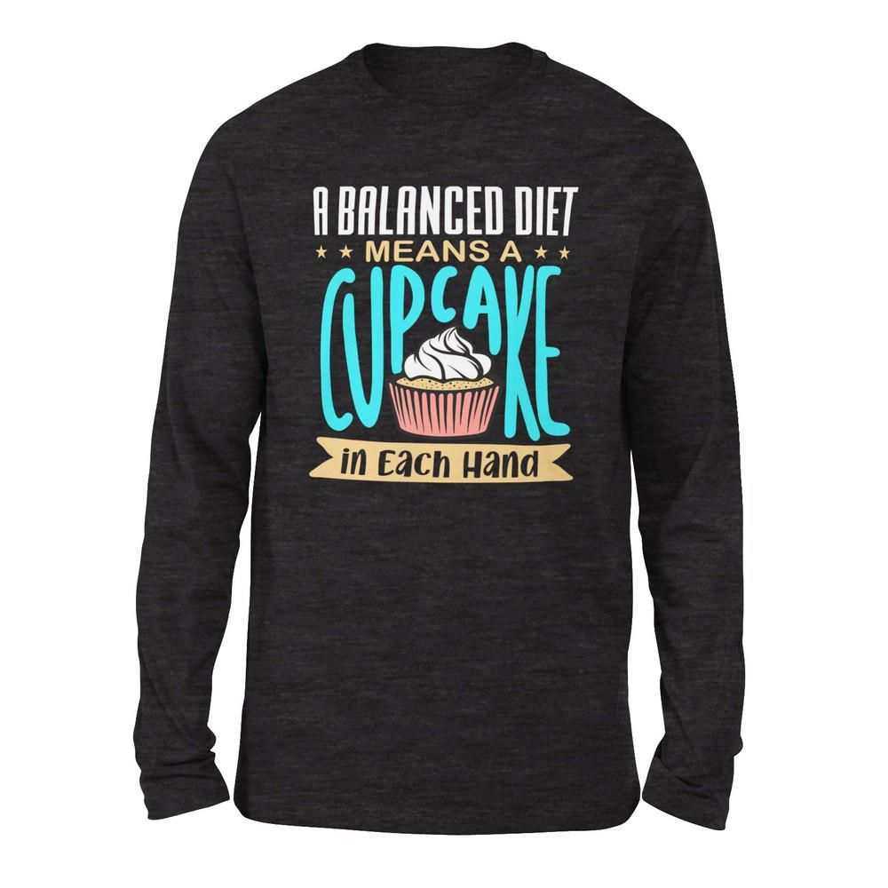 Photo of A Balanced Diet Means, A Cake In Each Hand Men/Unisex Drop Shoulder Sweatshirt – Dark Grey Heather / M