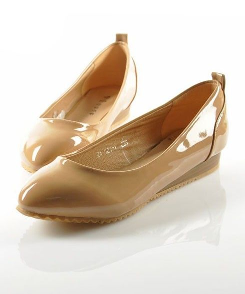 Nude Patent Leather Wedge Heeled Shoes