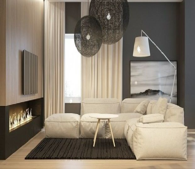Small house interior design living room with large sofa and modern fireplace rooms pinterest also rh