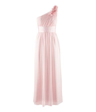 Long, draped, one-shouldered crêpe dress with a satin waistband, satin flowers, and concealed side zip. Lined. Light pink.