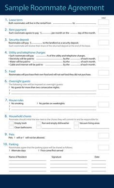 Roommate Agreement Template   Roommate Agreement