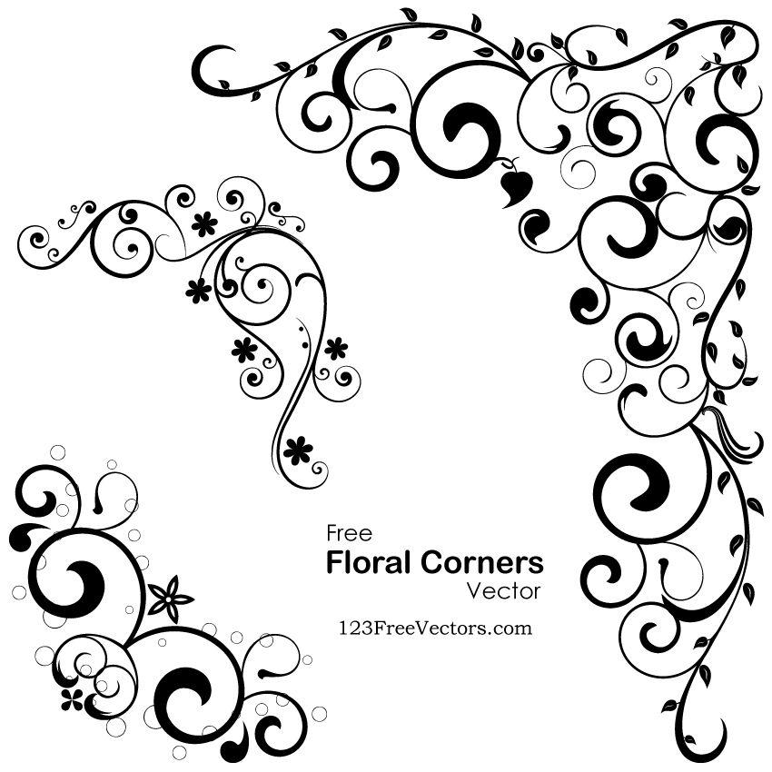 Vector Floral Corners | Free Vectors | Vector free, Vector