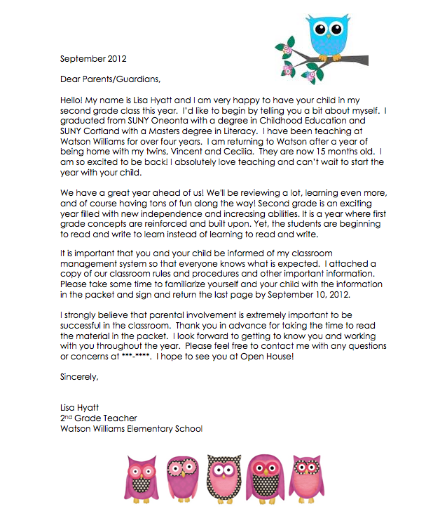In a letter to parents wednesday letter of intent ideas collection teacher introduction letter to parent altavistaventures Gallery