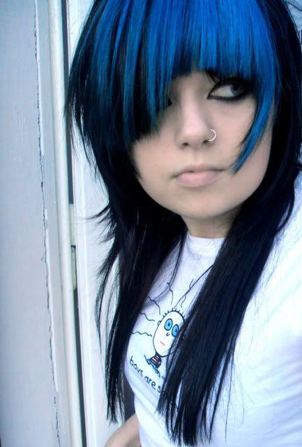 Black Emo Hair With Blue Bangs Blue Hair Blue Hair Highlights