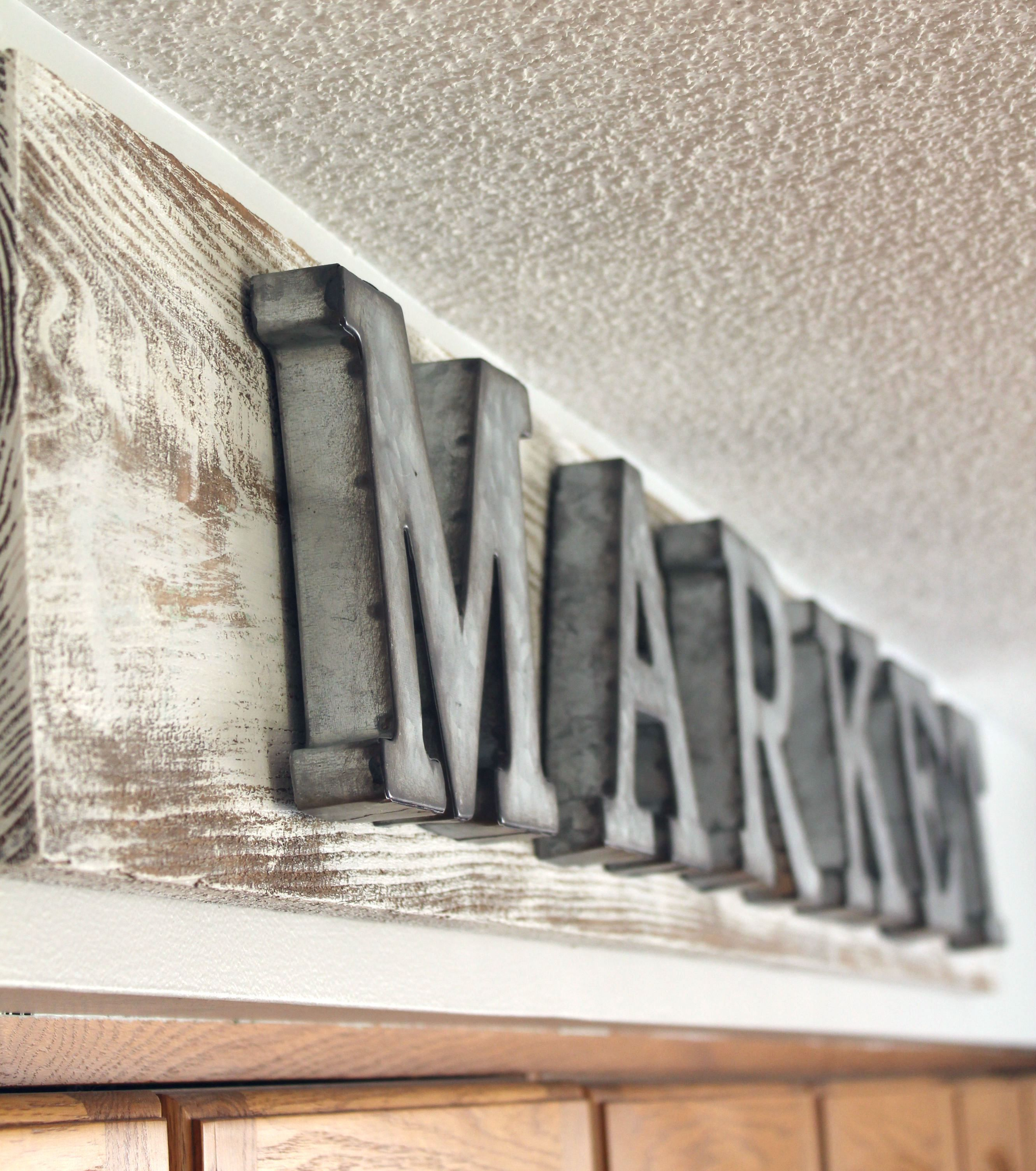 Wood & Galvanized Metal Letter Galvanized Market Sign  Decorate Family Room  Pinterest