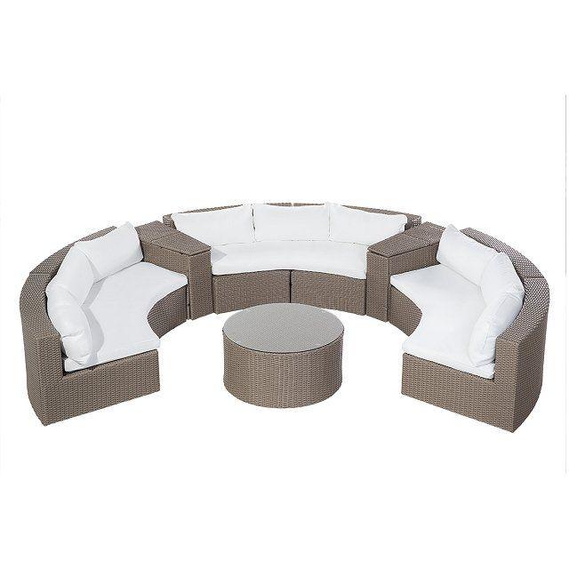 Lounge Set Rattan Hellbraun 9 Sitzer Rund Auflagen Weiß Severo In