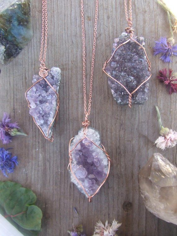 Photo of Amethyst geode cluster crystal necklace wire in pure copper with a real leather strap or …