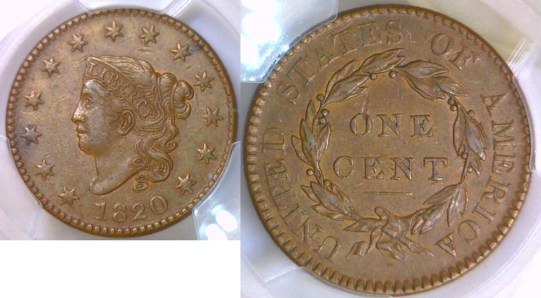 Large Cent 1820 Usa Pcgs Coin Collecting Coins