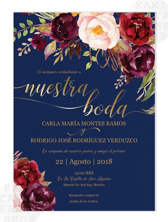 Invitaciones de Boda, Spanish wedding invitation, Marsala, Navy, Azul, Burgundy, Tinto, Fall, Instant Download, Nuestra Boda, Edit at home