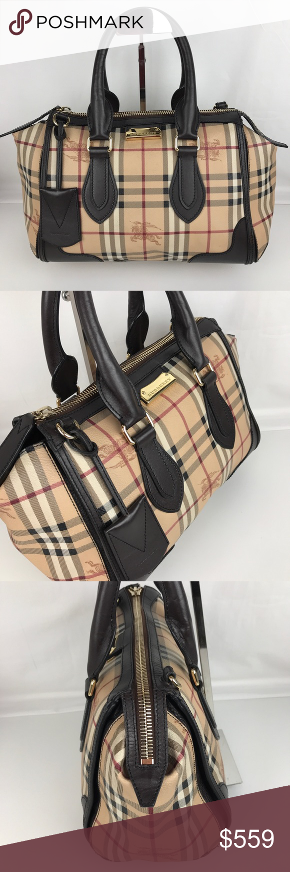 4b3380e4e139 Burberry Plaid Gladstone Chocolate Tote 3870759 Authentic Burberry Style  3870759. Gently used with tag and