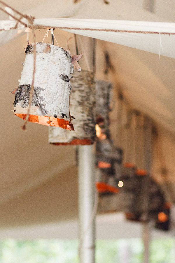 Homemade birch lights hanging inside a wedding tent : homemade wedding tent - memphite.com