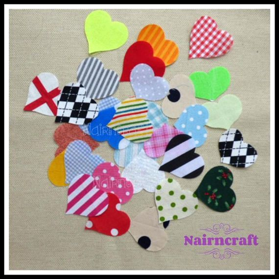 Patches Cotton Fabric  20 Cut Outs Applique Multi Coloured Mix Hearts